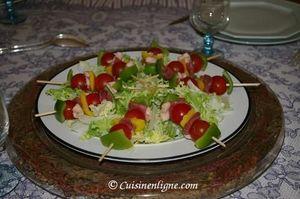Brochette de légumes au magret de canard et foie gras