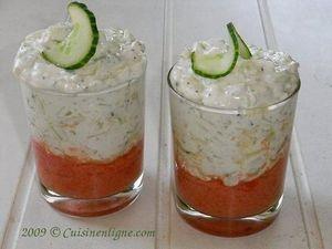Crème concombre féta sur mousse de tomate