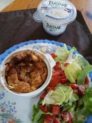 Mini clafoutis saucisses et tartare fleur de sel