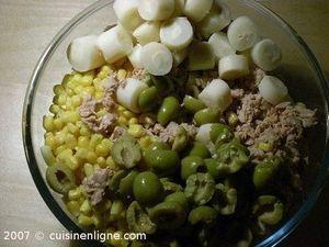 Salade de pâte au maïs thon et coeur de palmier