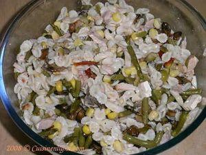 Salade de pâtes au thon champignon et haricots verts