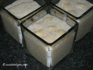 Verrines au lait de caco tapioca et bananes