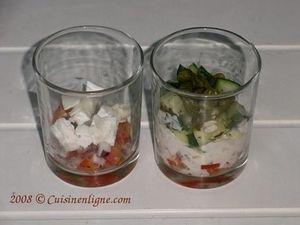 Verrines de tomates et concombre aux deux fromages
